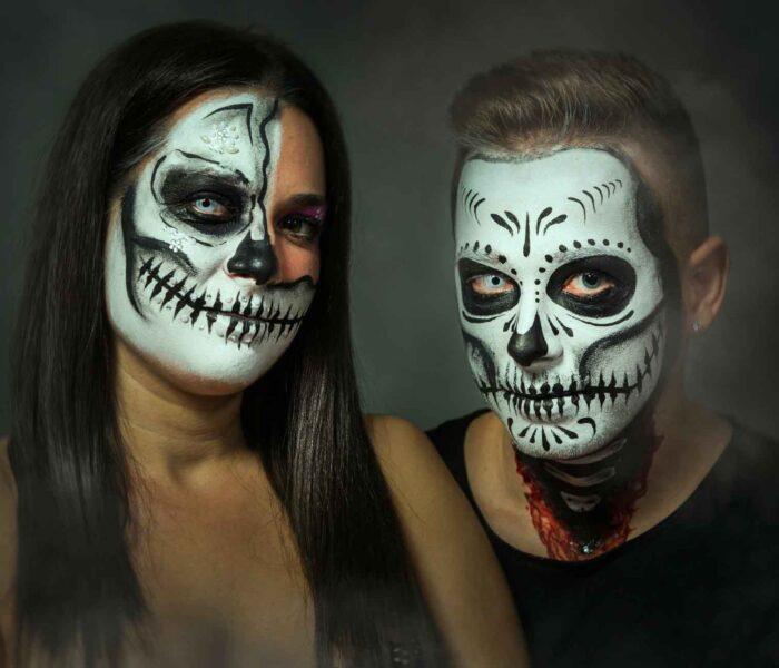 Pareja en Halloween maquillaje
